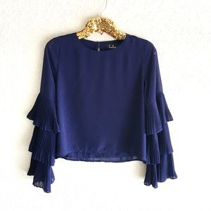 NWT Lulu's Navy Tiered Ruffle Sleeve Blouse
